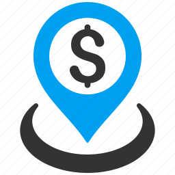 bank location, dollar, map pointer, pin, place, placement, point icon
