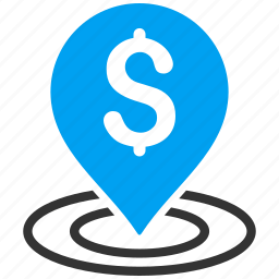 bank location, dollar, map pointer, place, placement, point, treasure icon