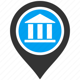 bank, banking pin, location, map marker, navigation, pointer, position icon