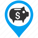 bank map marker, geo targeting, location, money flag, pin, pointer, position icon