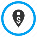 business, dollar, location, map marker, pin, place, pointer icon