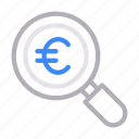 audit, currency, euro, money, search icon