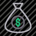 bag, currency, dollar, money, saving