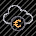 cloud, euro, money, server, storage icon