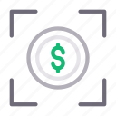 currency, dollar, focus, money, target icon