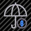 currency, dollar, money, protection, umbrella icon