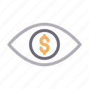 bank, dollar, eye, look, view icon