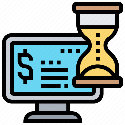 computer, hourglass, money, time, value icon