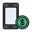 mobile, ebanking, online, dollar, pay