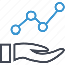 analytics, analyze, data, hand, hands icon