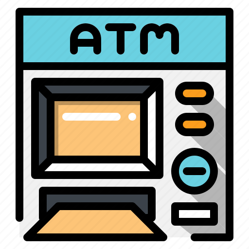 and, atm, business, commerce, finance, machine, money, shopping icon