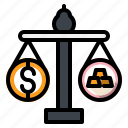 balance, dollar, gold, ingot, money icon
