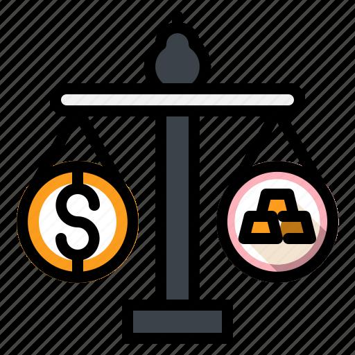 balance, dollar, gold, ingot, money icon
