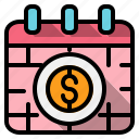 and, business, calendar, date, money, statistics, time icon