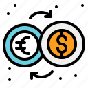 coins, dollar, euro, exchange, money icon