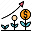 bank, business, growth, money, plant icon