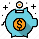bank, coin, money, piggy, save icon