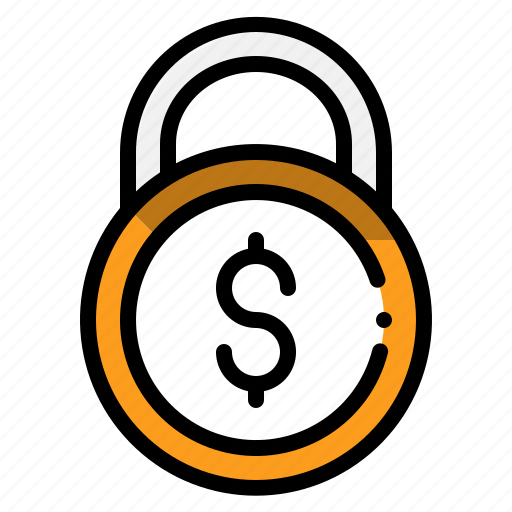 business, coins, internet, lock, money, security icon