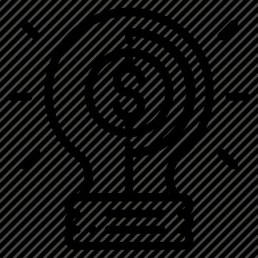 bulb, business, idea, investment, light, money icon