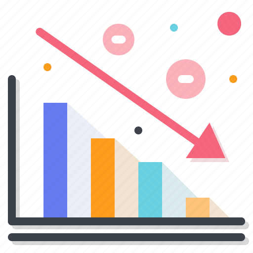 and, business, chart, decrease, down, finance, graphic, statistics icon