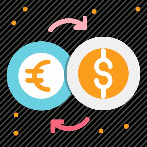 coins, dollar, euro, exchange, money icon