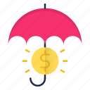 banking, insurance, protection, security, umbrella icon
