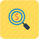 business, dollar coin, financial concept, magnifier, search of money icon