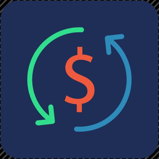 dollar, money, refresh icon