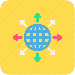 arrows, banking, finance, global, globe, links icon