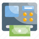 atm machine, bank, currency, money, withdraw icon