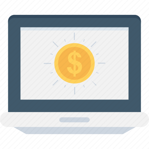 earning, ecommerce, laptop, online business, online work icon