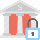 bank, building, lock, safe banking, security icon