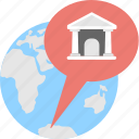 bank branches, bank location, globe, location, map icon