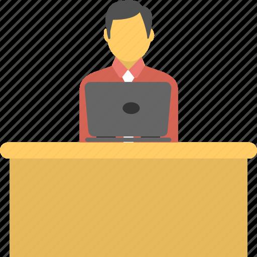 Businessman, desk, employee, office, worker icon - Download on Iconfinder