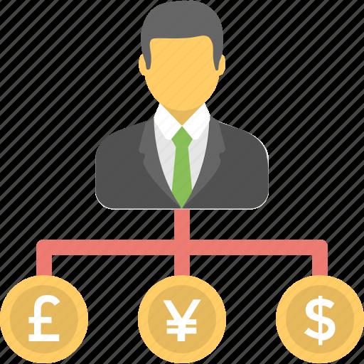 banker, businessman, cashflow, investor, management icon