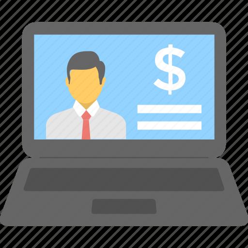 banking, ebanking, ecommerce, finance, laptop icon