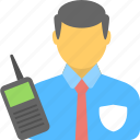 police, profession, security guard, security officer, walkie talkie icon