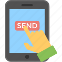 click, hand, mobile, send, send message icon