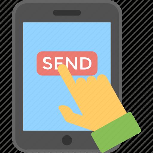 click, hand, mobile, send, send message icon