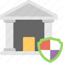 bank, building, safe banking, security, shield icon