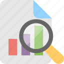 data, graph, magnifier, report, search graph icon