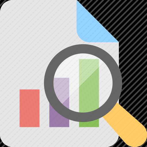 data, graph, magnifier, report, search graph icon