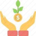 dollar, growth, income, money plant, plant icon