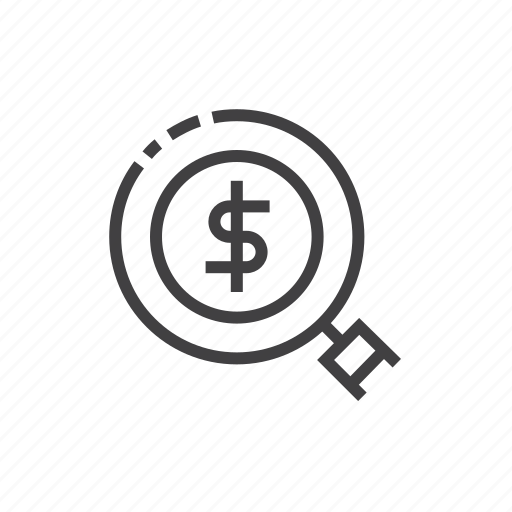business, cash, coin, magnifier, money, search icon