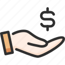 bank, banking, dollar, finance, hand, hold, money icon
