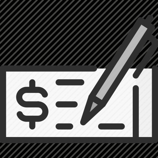bank, banking, bill, checkbook, finance, money, pen icon