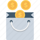bag, dollar, money bag, shopping, shopping bag icon