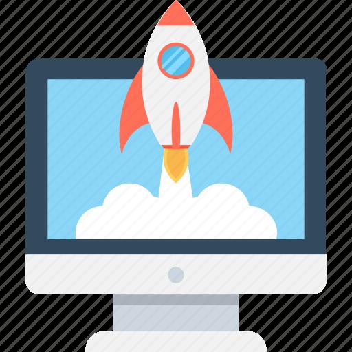 build site, create website, monitor, rocket, web startup icon