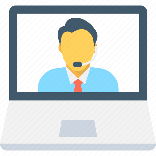 communication, laptop, live chat, video call, video chat icon