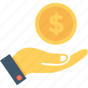 dollar, give, hand, money, payment icon